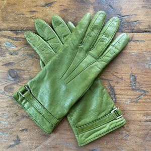Portolano Green Leather Cashmere Lined Gloves S